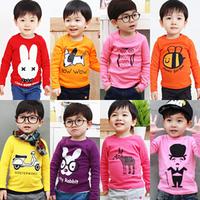 2013 autumn boys clothing girls clothing baby clothes child long-sleeve T-shirt tx-2082 basic shirt  (CC001)