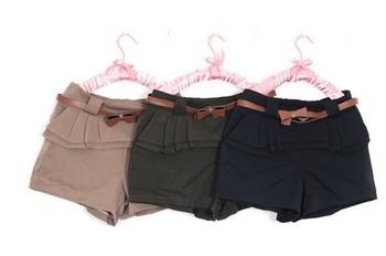 2013  Women's New Free Shipping Fashion Design Bowknot Belt Embellished Chiffon Shorts Khaki HT11051706