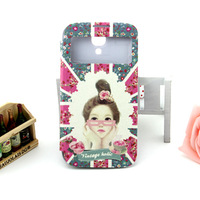 For samsung   s4 i9500 cartoon young girl mobile phone case window smart mobile phone protective case