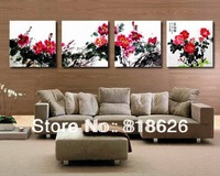 4 panel impressionist peony flowers canvas pictures wall hunging modern painting home decoration pt310