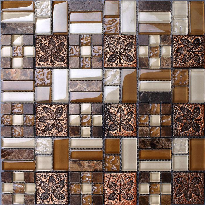 Metal Tile Backsplash Kitchen Design Colorful Crystal Glass & Stone Blend Mosaic Marble Wall Stickers Bathroom Floor Tiles(China (Mainland))