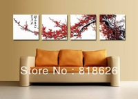 4pcs Huge Chinese Plum Flowers Canvas Wall Hanging Pictures Modern Home Living Room Painting Decoration Print Art Pt311