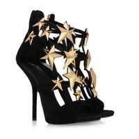 Hot high heel sandals design gold leaf embellished wedge pumps sandal