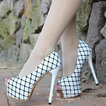 Fashion plaid 2013 Autumn/Spring Summer fashion ultra thin heels high heels open toe women's shoes Ladies pumps white 34-38