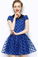 2013 Women's Summer Organza Chiffon Dot Polka Dot Blue Chiffon Dress Brand New With High Quality Free Shipping