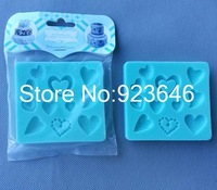 new 3D heart shape diy liquid silicone mold cookie mold chocolate mold cake mold fondant tool free shipping