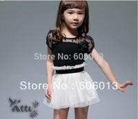 2013 summer spring children girls dress lace off shoulder flower dresses  5pcs/lot