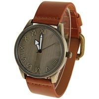 Miler Men's Watch 12 Roman Numbers Hour Marks Round Dial Leather Band