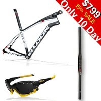 Hot SALE!!! LOOK 986 E-Post Mountain bike MTB carbon frame with stem. free handlebar,sunglasses,size S,M,L white color