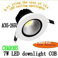 Free shipping AC85-265V LED downlight, LED ceiling spotlights 7W COB integrated surface light source, new styles.