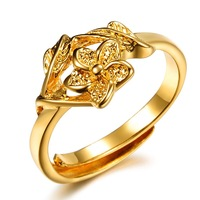 OPK JEWELRY promotion bridal jewelry 18K yellow gold plated flower shape wedding ring  adjustable size, wholesaler 011