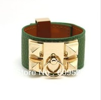 Rivet punk rock wind personality CDC cortical width H bracelet green gold-plated