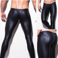 1pcs mens brand long pants tight fashion hot black human made leather sexy n2n boxer underwear sexy black wholesale