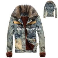 winter mens fashion cool denim jacket  men's clothing , korean style large fur collar jean outerwear coat for men , male jackets