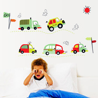 iShow K8   Green car wall stickers cartoon child real boy