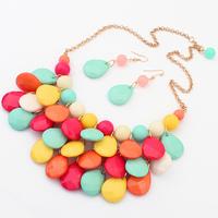 Min order is $10 NEW earrings set bohemia drop set candy necklace earrings 8353