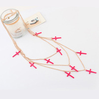 Min order is $10 NEW fashion hot-selling punk neon color necklace multi-layer cross necklace 8098