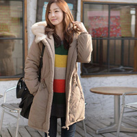 Free shipping ! NEW 2013 Winter Brand women wadded jacket medium-long thickening plus size overcoat outerwear women's with hood