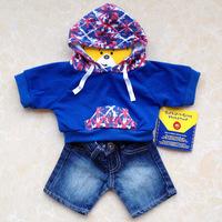 Original hanger build a bear duffy bear clothes m word flag sweatshirt jeans set