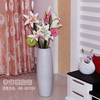 Home decoration large floor vase matt white ceramic handmade thread crafts