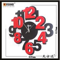 Black red digital wall clock art wall clock fashion mute wall clock