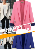 2013 blazer candy color turn-down collar color block long-sleeve suit plus size available