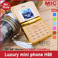 2013 Free Ship Luxury Leather Style Lovely Cute Girl Women Unlock Style FM MP3/MP4 FM Mini camera Flip Phone cellphone H58 P81