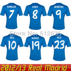 Free shipping 2014 Best thailand quality Real Madrid 13 14 Jersey 7# Away blue Ronaldo Isco Ozil kaka  Modric Soccer jersey(China (Mainland))