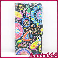 New Colorful Flower/Jelly Fish High Quality Leather Case Cover For Samsung Galaxy S4 Mini I9190