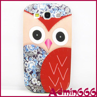 2013 NewCute Red Owl With Blue Flower TPU Gel Silicone Case Cover Skin For Samsung Galaxy S3 I9300
