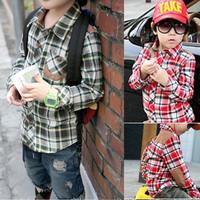 Autumn children's clothing fashion handsome plaid shirt patches child men's shirt