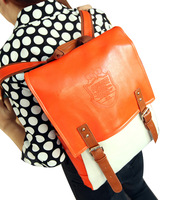Flip color block fashion embossed casual student bag backpack portable double-shoulder female bags