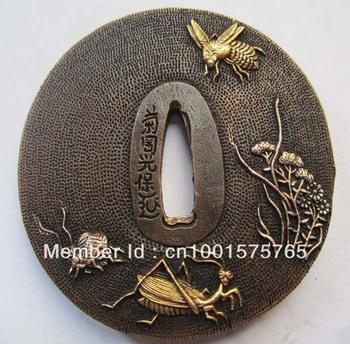 Tsuba/mantis insect solid  copper brass  JAPANESE SAMURAI SWORD KATANA T-256