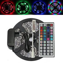 5m 3528  RGB 300 LED SMD Flexible Light Strip+Mini 44 Key IR+12V 2A Power Supply Non Waterproof(China (Mainland))