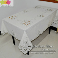 Handmade carving dragon 100% cotton rectangle table cloth fabric tablecloth 138x180cm self-shade white