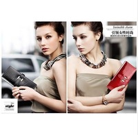 Free Shipping 100% Real Leather Wallet, Han Fashion Classic H Button Patent Leather Lady's Wallet