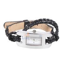 LY4# Fashion Ladies Girls Woven Braid Strap Bracelet Quartz Wrist Watch Black