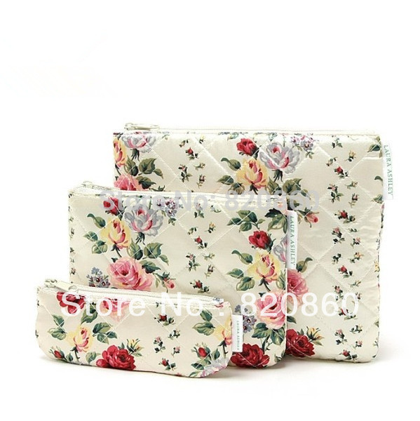 2013 new arrival Peony flowers thick satin diamond lattice Cosmetic Bag Pouch storage bag ladys makeup bag 3pcs(China (Mainland))