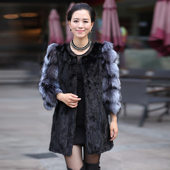 New 2013 Winter Coat Women Coats Fur Mink Spliced Fox Collar Black Casaco Fur Coat Women Three Quarter