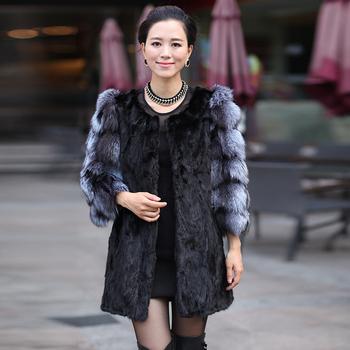 New 2013 Winter Coat Women Coats Fur Mink Spliced Fox Collar Black Casaco Fur Coat Women Three Quarter