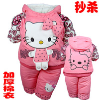 Children's clothing 2013 autumn and winter cartoon thin wadded jacket cotton-padded jacket set baby clothes