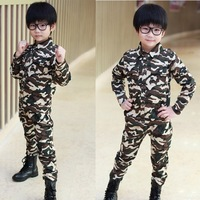 Free shipping new 2013 100% children's cotton clothing sets child Camouflage set outdoor sports wear set camouflage child cloth