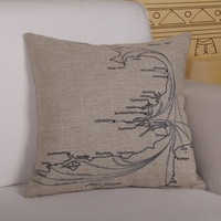 Quality Linen/Cotton Throw Pillow Cover Map Pattern Pillowcase Cushion Cover Home Decor