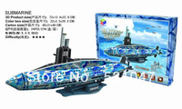 Free Shipping Children's educational toys Military Series  3D Puzzle of Submarine with 54pcs assembly
