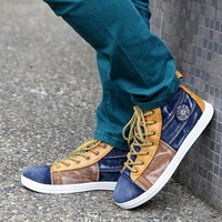 Casual shoes canvas shoes male shoes water wash cloth denim high canvas shoes male skateboarding shoes