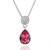 18KGP N192 Pink Crystal Platinum Plated Pendant Necklace Health Jewelry Nickel Free Rhinestone Austrian Crystal Necklace