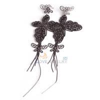 LY4# Fashion Jewelry Women Charming Big Butterfly Dangle Earring Gift Black