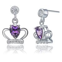 Freeshipping New  2014 Women   925 silver heart-shaped silver crown earrings amethyst stone