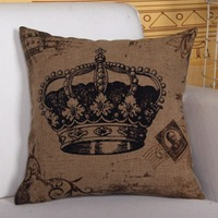 Quality Linen/Cotton Throw Pillow Cover Imperial Crown Pattern Pillowcase Cushion Cover Home Decor