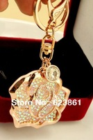 Free Shipping Hot Sale Sexy Crystal Rose Flower Car keychains Keyrings Car Jewelry Accessory for Women Female